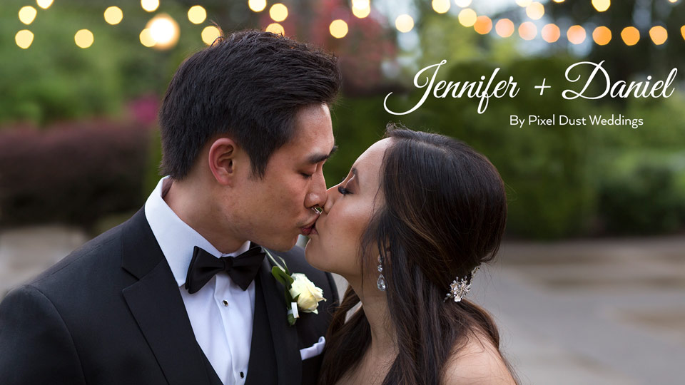 Newlywed couple poses for photo during wedding videography in washington