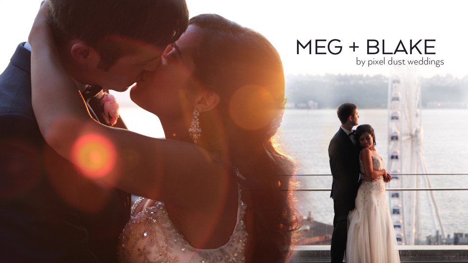 Newlywed couple pose for photo taken during wedding videography at four seasons hotel in seattle washington