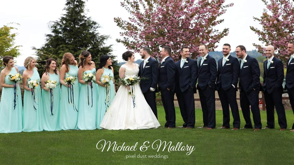 Newlywed couple pose for photo taken during wedding videography at Hidden Meadows in Snohomish washington