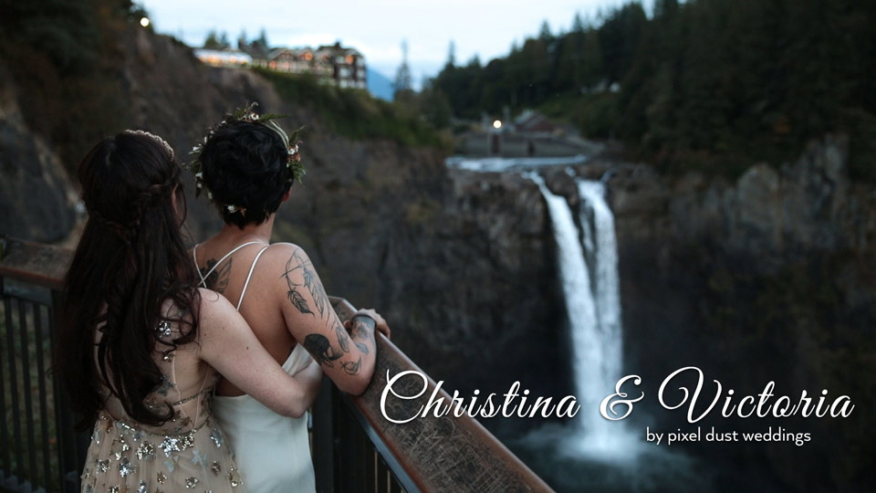 Newlywed couple poses for photo during wedding videography at Salish Lodge in snoqualmie washington