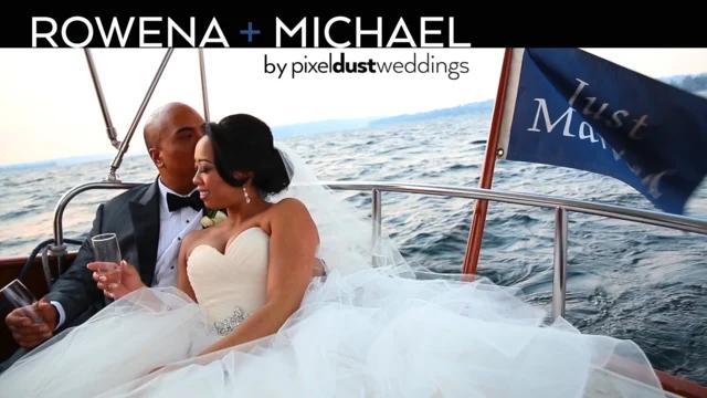 Newlywed couple pose for photo taken during wedding videography at the woodmark hotel in kirkland washington